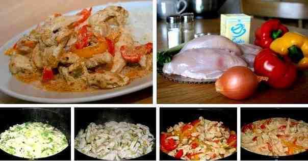 процесс приготовления курицы с овощами