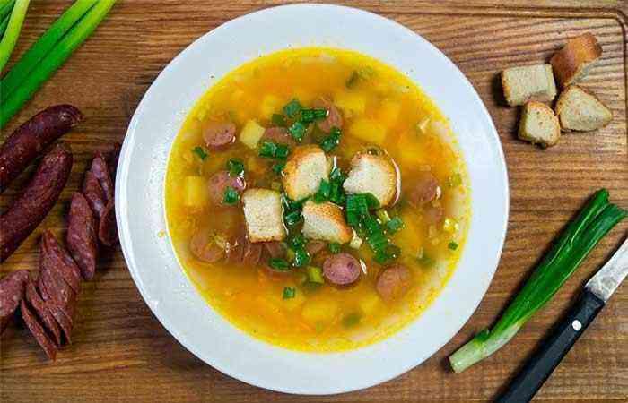 Суп с копчеными колбасками рецепт